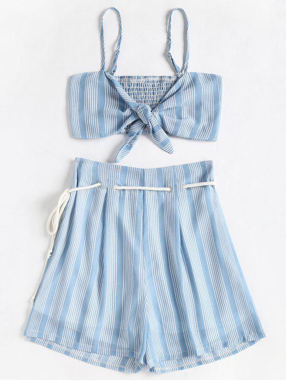 lady Smocked Stripes Top and Belted Shorts Set - COLUMBIA BLUE S