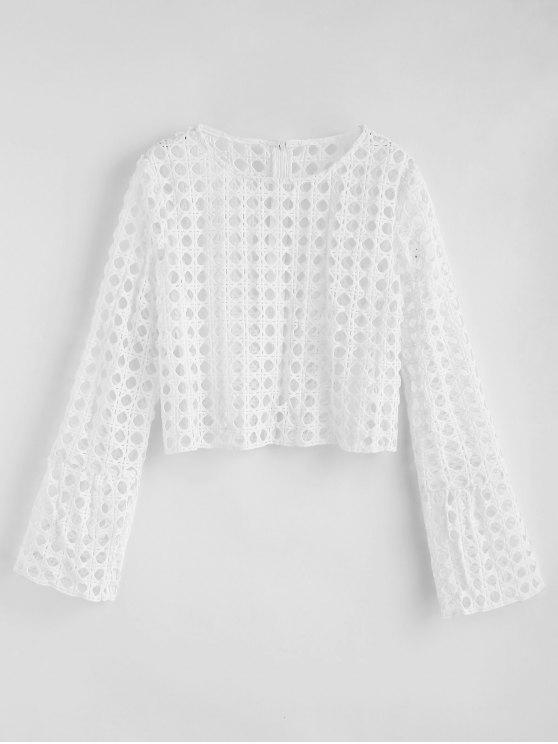 fancy Hollow Out Flare Sleeve Blouse - WHITE M