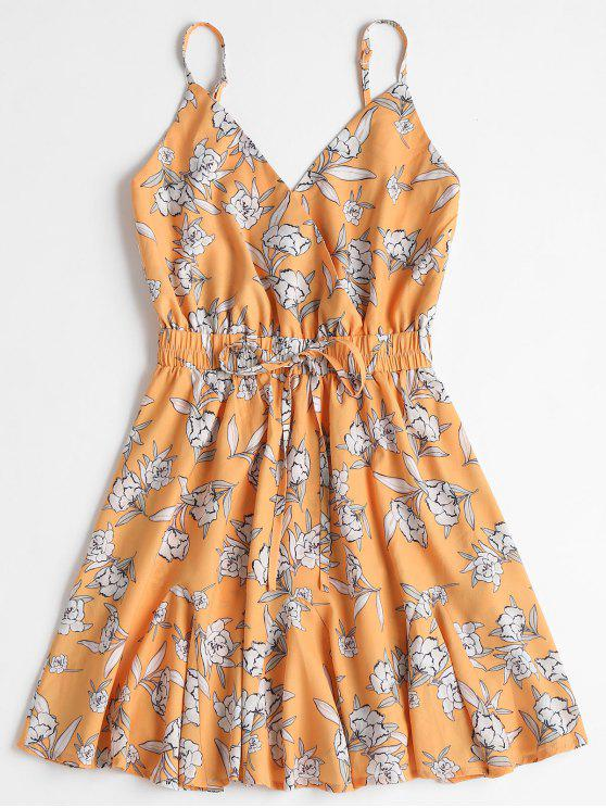 فستان مصغر طباعة الأزهار كشكش - أصفر فاقع XL