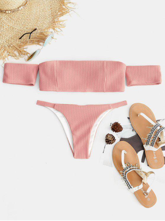 best Ribbed Off The Shoulder Bikini Set - MISTY ROSE S
