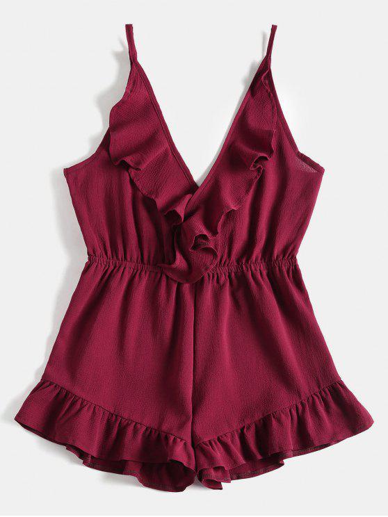 outfits Cami Ruffles Wide Leg Romper - RED WINE L