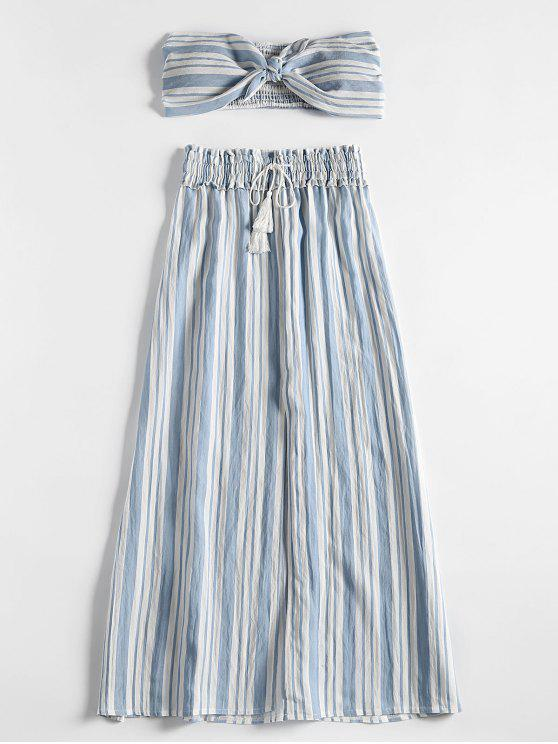 Stripes Shirred Panel Tube Top y Slit Skirt Set - Azul Claro XL