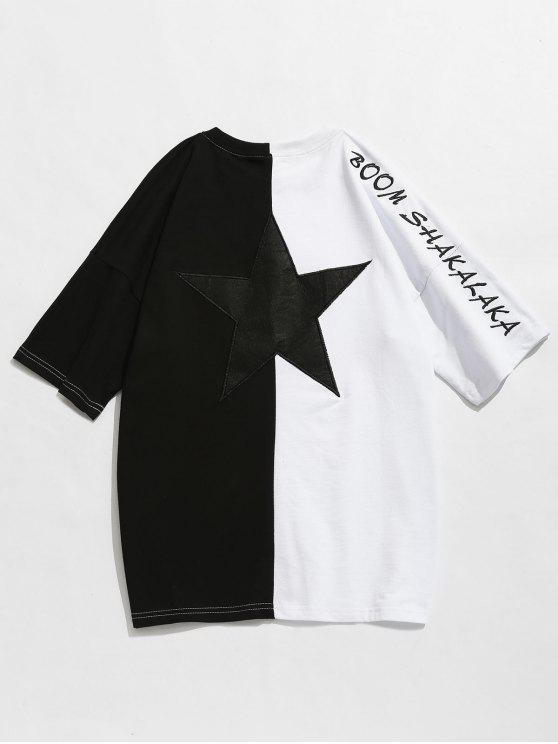 2c000accdb1c 32% OFF] 2019 Two Tone Drop Shoulder Embroidery Tee In BLACK | ZAFUL