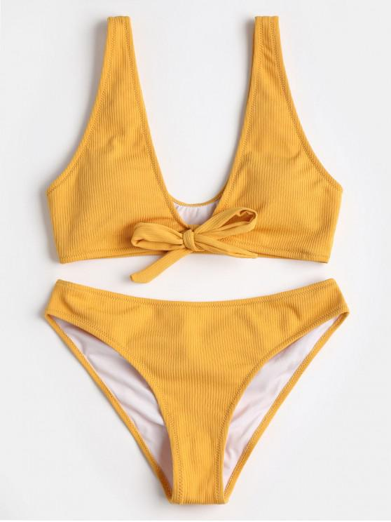 hot Bowtie Ribbed Scrunch Butt Bikini - YELLOW M