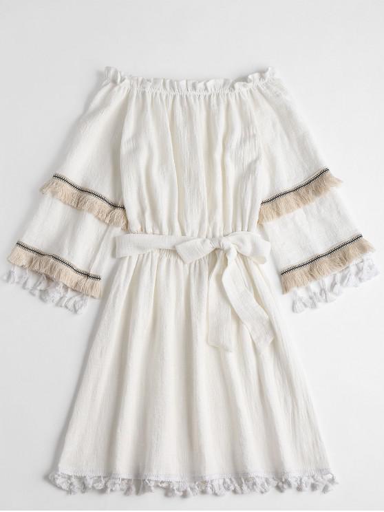 outfits Bohemian Tassels Off Shoulder Mini Dress - WHITE M