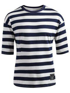 Drop Shoulder Striped T-shirt - Dark Slate Blue L