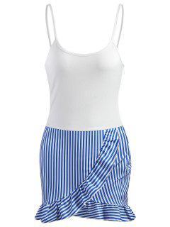 Streifen Panel Rüschen Minikleid - Weiß Xl