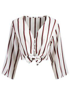 Button Up Stripes Cropped Top - White S