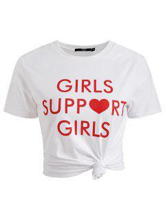 Camiseta Con Cuello Redondo Y Estampado De Letras - Blanco S
