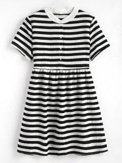 Striped Half Button Mini Dress - Black
