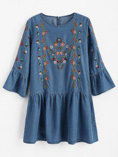 Mini Vestido De Volantes Bordados Florales - Azul Denim M