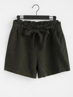 Plain Self Tie Bowknot Shorts - Army Green