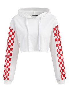 Cropped Contrast Square Hoodie - White L