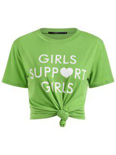 Letter Print Round Collar Tee - Green S