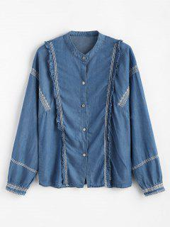 Ruffle Button Down Embroidered Shirt - Denim Blue M