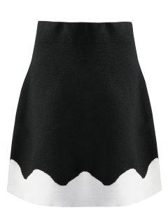 Knitted Two Tone A Line Skirt - Black S