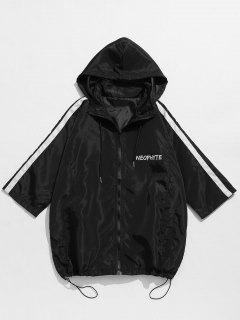 Letter Print Zip Windbreaker Jacket - Black S