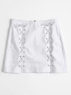 Back Zipper Lace Up Jean Skirt - White L