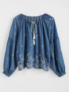 Tasselled Tied Embroidered Blouse - Denim Blue M