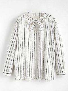 Long Sleeve Striped Bowtie Blouse - White