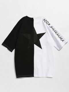 Zweifarbiges Drop Shoulder Embroidery Tee - Schwarz 2xl