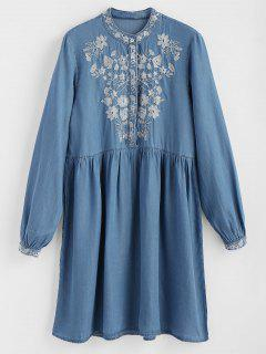 Half Buttoned Embroidered Shift Dress - Denim Blue S