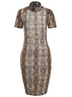Snakeskin Print Cut Out Dress - Coffee Xl