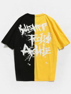 Two Tone Raglan Sleeve Patterned Tee - Yellow S