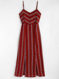 Printed Slit Cami Dress - Red Wine Xl