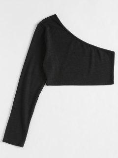Abgeschnittenes T-Shirt Mit Einer Schulter - Schwarz Xl