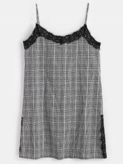 Lace Panel Plaid Cami Dress - Black L