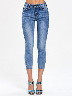 Distressed Frayed Ninth Jeans - Denim Blue S