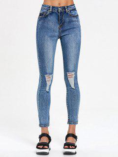 Pencil Skinny Distressed Jeans - Denim Blue S