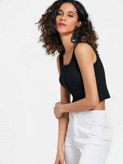 U Neck Ribbed Knit Tank Top - Black