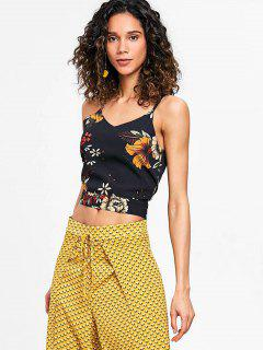 Cropped Floral Cut Out Tank Top - Black S