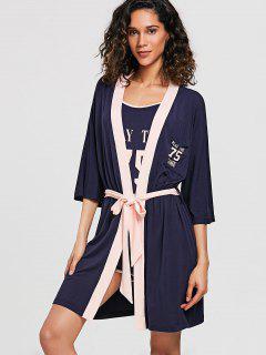 Conjunto De Pijamas De Pijama Gráfico De Tres Piezas - Azul De Pizarra Oscuro M