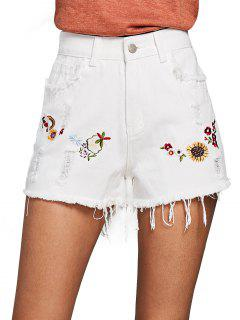 Ripped Floral Patched Denim Shorts - White L
