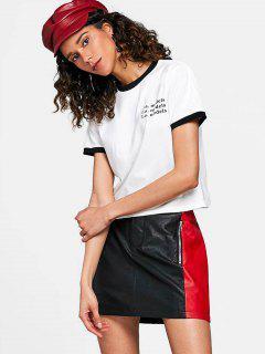 T-shirt à Imprimé Lettre - Blanc S