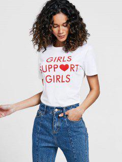 T-shirt Slogan à Col Rond Avec Lettres Contrastantes - Blanc S