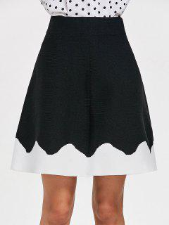Knitted A Line Two Tone Skirt - Black S