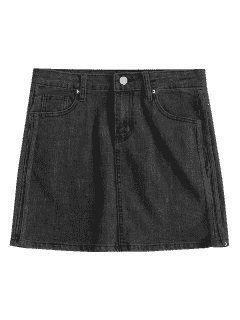 Plain Jean Mini Skirt - Carbon Gray L