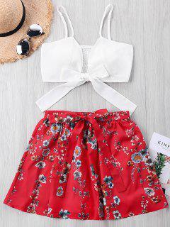 Top Corto Con Lazo Floral Y Falda Floral De Kont - Rojo S