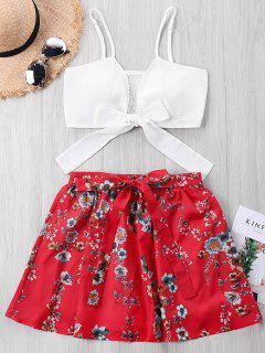 Smocked Tie Kont Crop Top With Floral Skirt - Red M