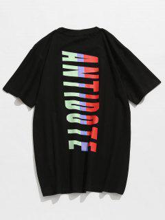 Baumwolle Briefmuster Kurzarm T-Shirt - Schwarz L