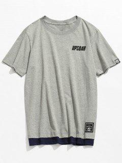 Short Sleeve Cotton Casual Tee - Gray L