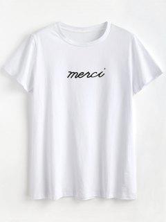 Buchstabe-Grafik-T-Shirt - Weiß L