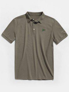 Coconut Tree Print Short Sleeve Polo T-shirt - Grayish Turquoise L