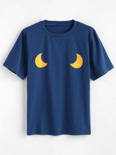 Cute Moons Graphic T Shirt - Blue Jay L