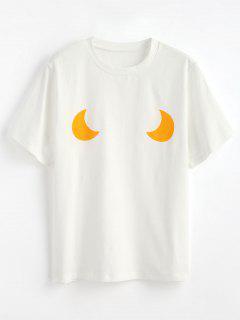 Niedliches Monogramm-Grafik-T-Shirt - Weiß Xl