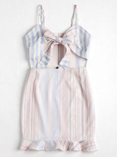 Mini Vestido Cortado A Rayas Con Cordones - Blanco Xl